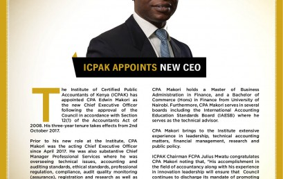 ICPAK Appoints New Chief Executive Officer