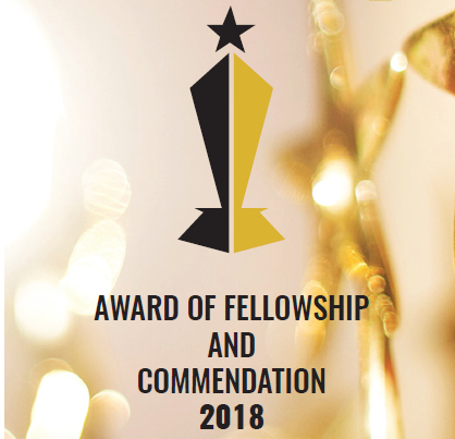 AWARD OF FELLOWSHIP AND COMMENDATION 2018