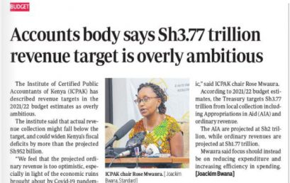 Accountants body says Sh.3.77 trillion revenue target is overly ambitious.